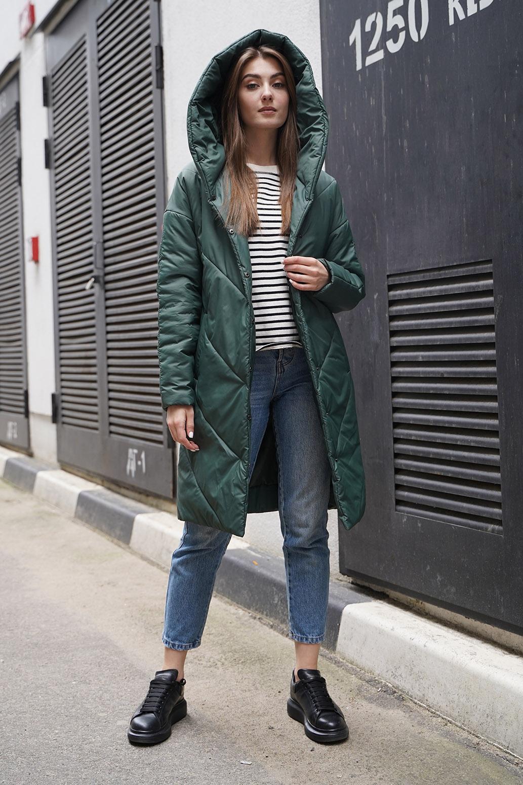 Пальто деми 13700 зеленый